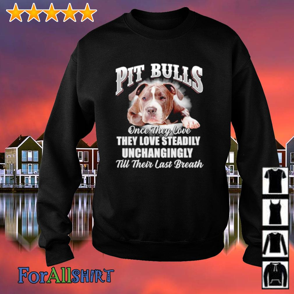Pit bulls once they love they love steadily unchangingly till their last breath s sweatshirt