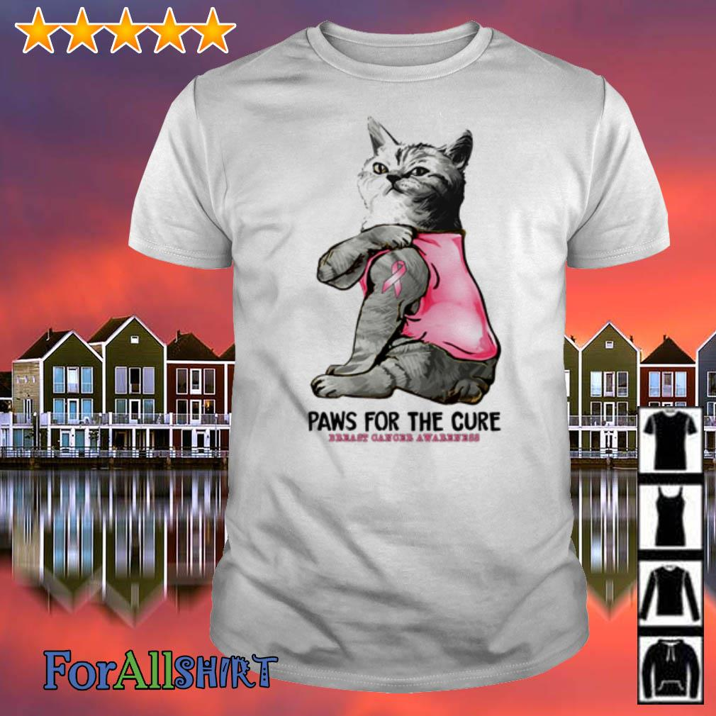 This image has an empty alt attribute; its file name is cat-tattoo-paws-cure-breast-cancer-awareness-shirt.jpg