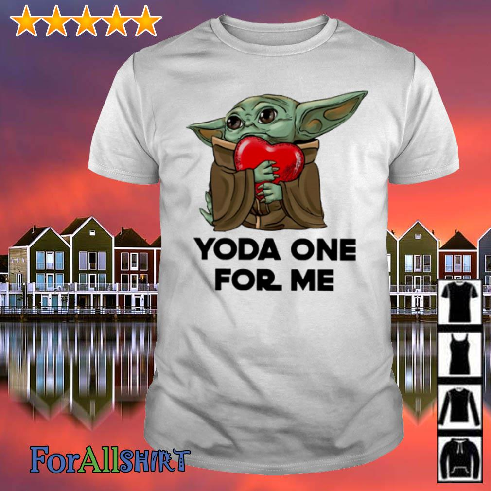This image has an empty alt attribute; its file name is offcical-star-wars-baby-yoda-one-for-me-shirt.jpg