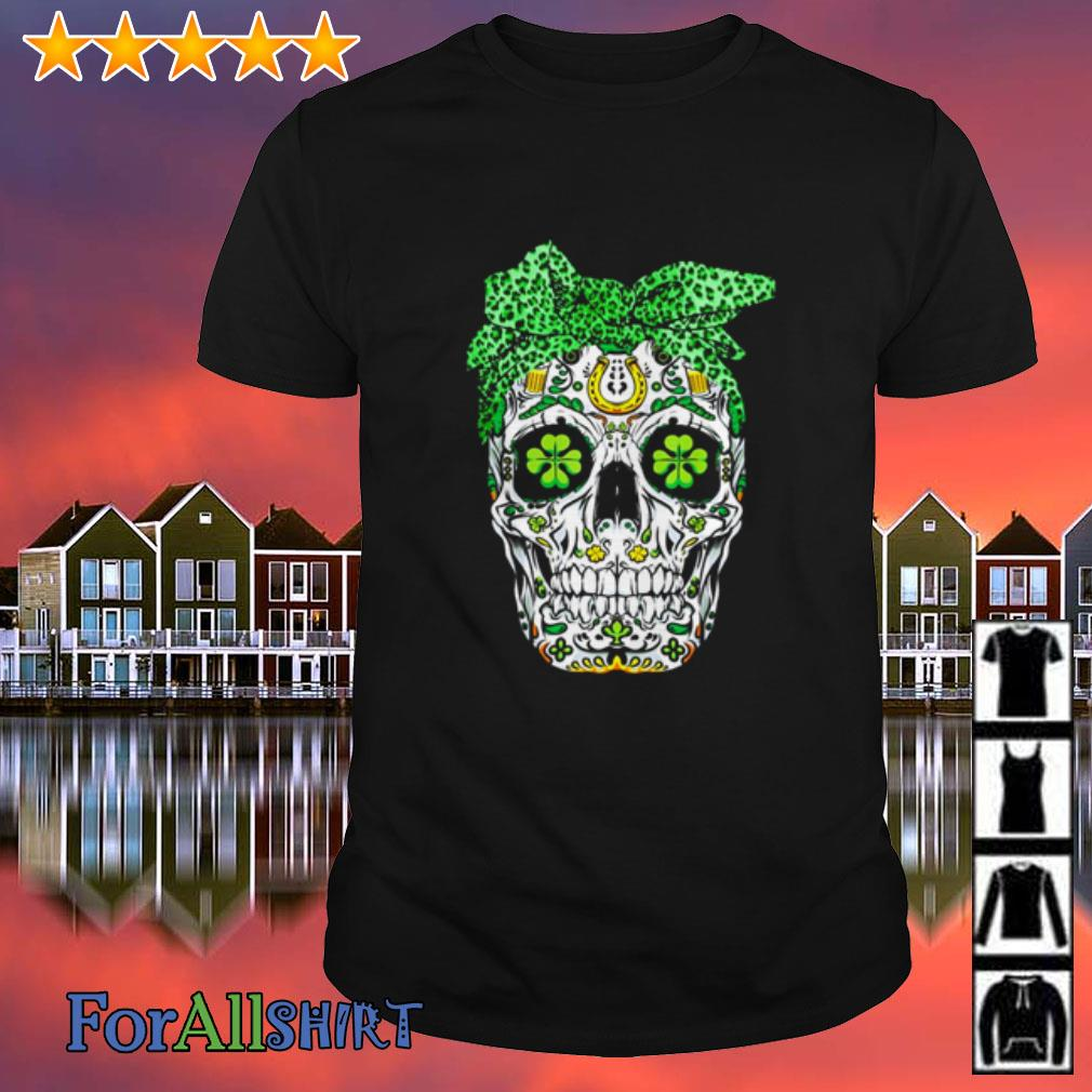 This image has an empty alt attribute; its file name is sugar-skull-shamrock-bow-shirt.jpg