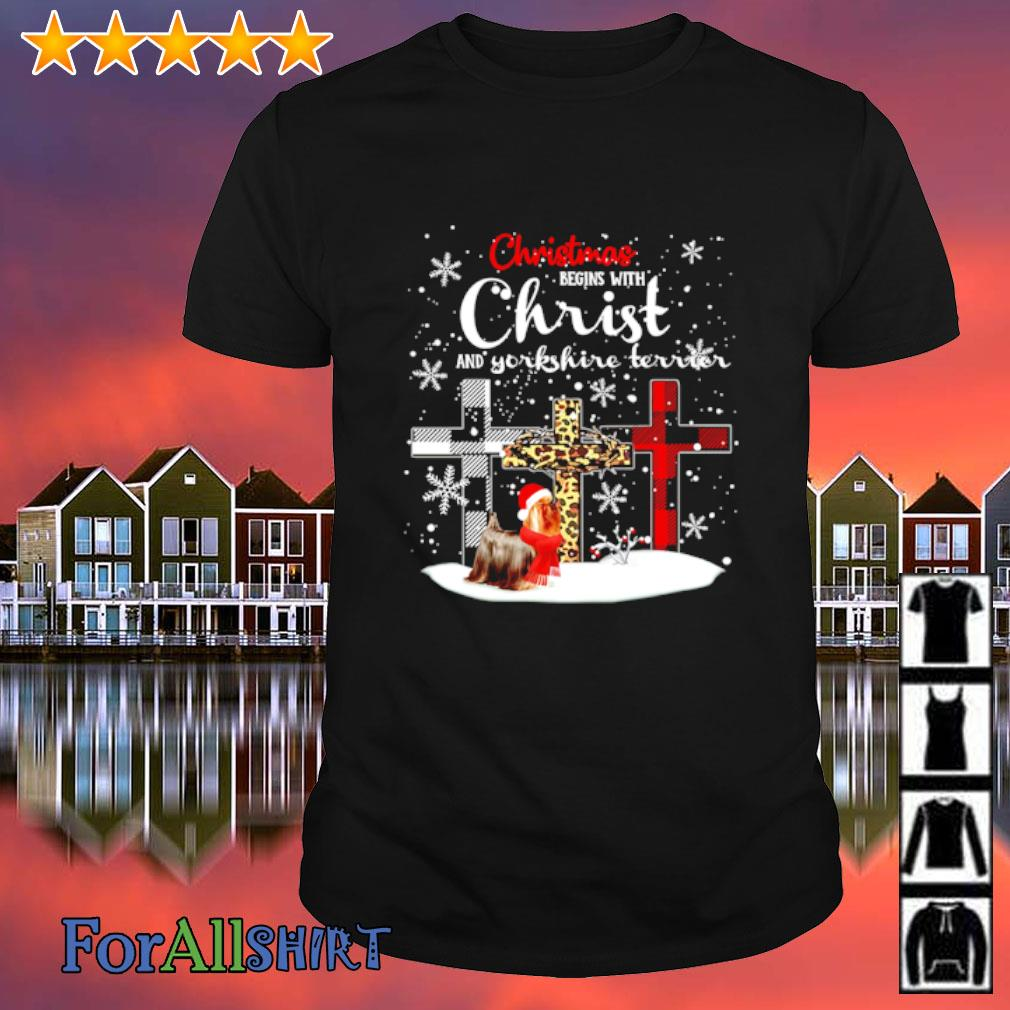 Yorkshire Terrier Christmas Begins With Christ shirt