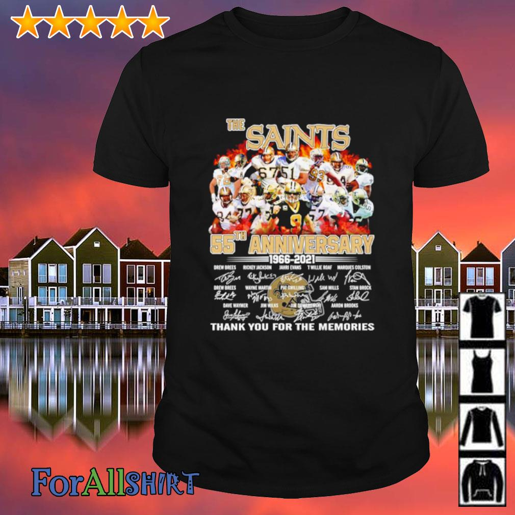 The New Orleans Saints 55th anniversary 1966 2021 thank you for the memories shirt